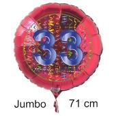 Großer Zahl 33 Luftballon aus Folie zum 33. Geburtstag, 71 cm, Rot/Blau, heliumgefüllt