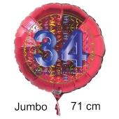 Großer Zahl 34 Luftballon aus Folie zum 34. Geburtstag, 71 cm, Rot/Blau, heliumgefüllt