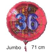 Großer Zahl 36 Luftballon aus Folie zum 36. Geburtstag, 71 cm, Rot/Blau, heliumgefüllt