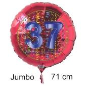 Großer Zahl 37 Luftballon aus Folie zum 37. Geburtstag, 71 cm, Rot/Blau, heliumgefüllt