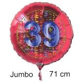 Großer Zahl 39 Luftballon aus Folie zum 39. Geburtstag, 71 cm, Rot/Blau, heliumgefüllt