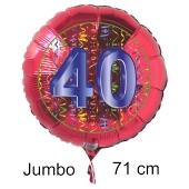Großer Zahl 40 Luftballon aus Folie zum 40. Geburtstag, 71 cm, Rot/Blau, heliumgefüllt