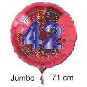 Großer Zahl 42 Luftballon aus Folie zum 42. Geburtstag, 71 cm, Rot/Blau, heliumgefüllt