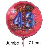 Großer Zahl 43 Luftballon aus Folie zum 43. Geburtstag, 71 cm, Rot/Blau, heliumgefüllt