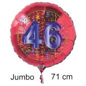 Großer Zahl 46 Luftballon aus Folie zum 46. Geburtstag, 71 cm, Rot/Blau, heliumgefüllt