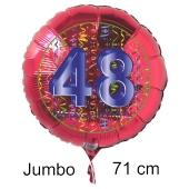 Großer Zahl 48 Luftballon aus Folie zum 48. Geburtstag, 71 cm, Rot/Blau, heliumgefüllt