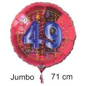 Großer Zahl 49 Luftballon aus Folie zum 49. Geburtstag, 71 cm, Rot/Blau, heliumgefüllt