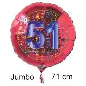 Großer Zahl 51 Luftballon aus Folie zum 51. Geburtstag, 71 cm, Rot/Blau, heliumgefüllt