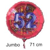 Großer Zahl 52 Luftballon aus Folie zum 52. Geburtstag, 71 cm, Rot/Blau, heliumgefüllt