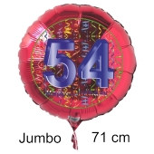Großer Zahl 54 Luftballon aus Folie zum 54. Geburtstag, 71 cm, Rot/Blau, heliumgefüllt