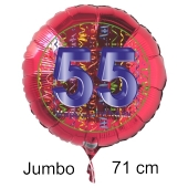 Großer Zahl 55 Luftballon aus Folie zum 55. Geburtstag, 71 cm, Rot/Blau, heliumgefüllt