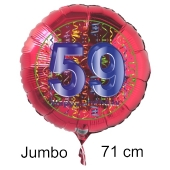 Großer Zahl 59 Luftballon aus Folie zum 59. Geburtstag, 71 cm, Rot/Blau, heliumgefüllt
