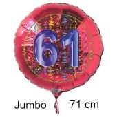 Großer Zahl 61 Luftballon aus Folie zum 61. Geburtstag, 71 cm, Rot/Blau, heliumgefüllt
