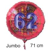 Großer Zahl 62 Luftballon aus Folie zum 62. Geburtstag, 71 cm, Rot/Blau, heliumgefüllt