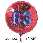 Großer Zahl 63 Luftballon aus Folie zum 63. Geburtstag, 71 cm, Rot/Blau, heliumgefüllt