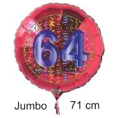 Großer Zahl 64 Luftballon aus Folie zum 64. Geburtstag, 71 cm, Rot/Blau, heliumgefüllt