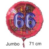 Großer Zahl 66 Luftballon aus Folie zum 66. Geburtstag, 71 cm, Rot/Blau, heliumgefüllt