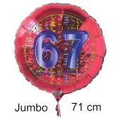 Großer Zahl 67 Luftballon aus Folie zum 67. Geburtstag, 71 cm, Rot/Blau, heliumgefüllt