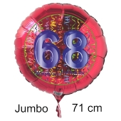 Großer Zahl 68 Luftballon aus Folie zum 68. Geburtstag, 71 cm, Rot/Blau, heliumgefüllt