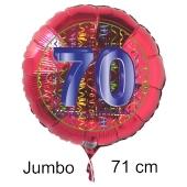 Großer Zahl 70 Luftballon aus Folie zum 70. Geburtstag, 71 cm, Rot/Blau, heliumgefüllt