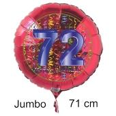 Großer Zahl 72 Luftballon aus Folie zum 72. Geburtstag, 71 cm, Rot/Blau, heliumgefüllt
