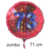 Großer Zahl 73 Luftballon aus Folie zum 73. Geburtstag, 71 cm, Rot/Blau, heliumgefüllt