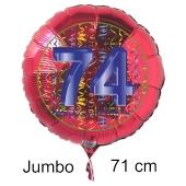 Großer Zahl 74 Luftballon aus Folie zum 74. Geburtstag, 71 cm, Rot/Blau, heliumgefüllt