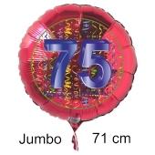 Großer Zahl 75 Luftballon aus Folie zum 75. Geburtstag, 71 cm, Rot/Blau, heliumgefüllt