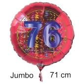 Großer Zahl 76 Luftballon aus Folie zum 76. Geburtstag, 71 cm, Rot/Blau, heliumgefüllt