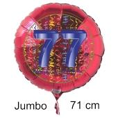 Großer Zahl 77 Luftballon aus Folie zum 77. Geburtstag, 71 cm, Rot/Blau, heliumgefüllt