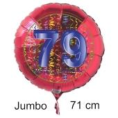 Großer Zahl 79 Luftballon aus Folie zum 79. Geburtstag, 71 cm, Rot/Blau, heliumgefüllt