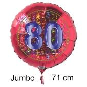 Großer Zahl 80 Luftballon aus Folie zum 80. Geburtstag, 71 cm, Rot/Blau, heliumgefüllt
