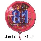 Großer Zahl 81 Luftballon aus Folie zum 81. Geburtstag, 71 cm, Rot/Blau, heliumgefüllt