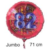 Großer Zahl 82 Luftballon aus Folie zum 82. Geburtstag, 71 cm, Rot/Blau, heliumgefüllt