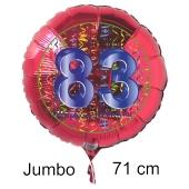 Großer Zahl 83 Luftballon aus Folie zum 83. Geburtstag, 71 cm, Rot/Blau, heliumgefüllt