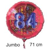 Großer Zahl 84 Luftballon aus Folie zum 84. Geburtstag, 71 cm, Rot/Blau, heliumgefüllt