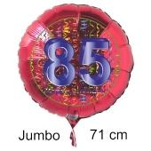 Großer Zahl 85 Luftballon aus Folie zum 85. Geburtstag, 71 cm, Rot/Blau, heliumgefüllt