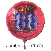Großer Zahl 88 Luftballon aus Folie zum 88. Geburtstag, 71 cm, Rot/Blau, heliumgefüllt