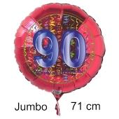 Großer Zahl 90 Luftballon aus Folie zum 90. Geburtstag, 71 cm, Rot/Blau, heliumgefüllt