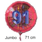 Großer Zahl 91 Luftballon aus Folie zum 91. Geburtstag, 71 cm, Rot/Blau, heliumgefüllt