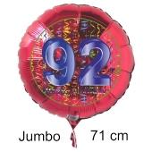 Großer Zahl 92 Luftballon aus Folie zum 92. Geburtstag, 71 cm, Rot/Blau, heliumgefüllt