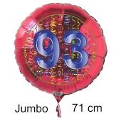 Großer Zahl 93 Luftballon aus Folie zum 93. Geburtstag, 71 cm, Rot/Blau, heliumgefüllt