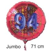 Großer Zahl 94 Luftballon aus Folie zum 94. Geburtstag, 71 cm, Rot/Blau, heliumgefüllt