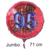 Großer Zahl 95 Luftballon aus Folie zum 95. Geburtstag, 71 cm, Rot/Blau, heliumgefüllt