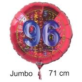 Großer Zahl 96 Luftballon aus Folie zum 96. Geburtstag, 71 cm, Rot/Blau, heliumgefüllt