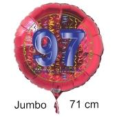Großer Zahl 97 Luftballon aus Folie zum 97. Geburtstag, 71 cm, Rot/Blau, heliumgefüllt