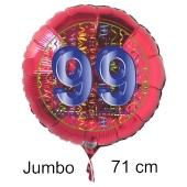 Großer Zahl 99 Luftballon aus Folie zum 99. Geburtstag, 71 cm, Rot/Blau, heliumgefüllt