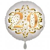 Satin Weiß/Gold Zahl 20 Luftballon aus Folie zum 20. Geburtstag, 45 cm, Satin Luxe, heliumgefüllt