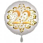 Satin Weiß/Gold Zahl 22 Luftballon aus Folie zum 20. Geburtstag, 45 cm, Satin Luxe, heliumgefüllt