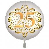 Satin Weiß/Gold Zahl 25 Luftballon aus Folie zum 20. Geburtstag, 45 cm, Satin Luxe, heliumgefüllt
